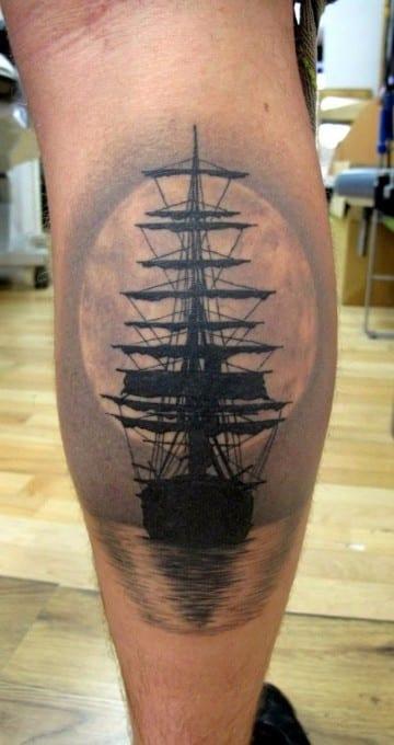 tatuajes para pantorrillas de hombres de mar