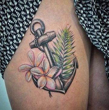 tatuajes de anclas para mujer en la pierna