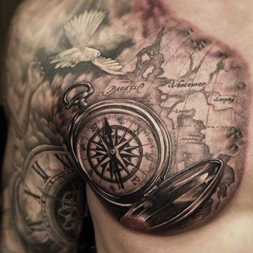 tatuajes de relojes y brujulas para hombres