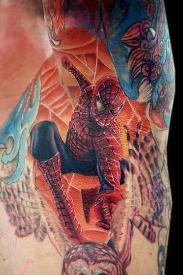 tatuajes del hombre araña colores