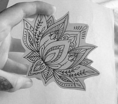 dibujos de flor de loto para tatuajes mediano