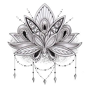 dibujos de flor de loto para tatuajes para mujer