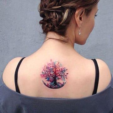 imagenes de tatuajes del arbol de la vida de colores