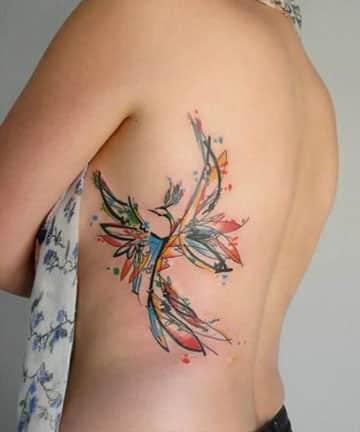 tatuajes de ave fenix al costado