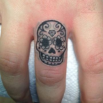 tatuajes de calaveras pequeñas en dedo
