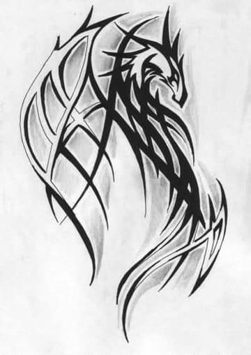 tatuajes de dragones tribales diseño