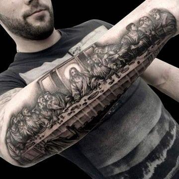 tatuajes de la ultima cena en el brazo
