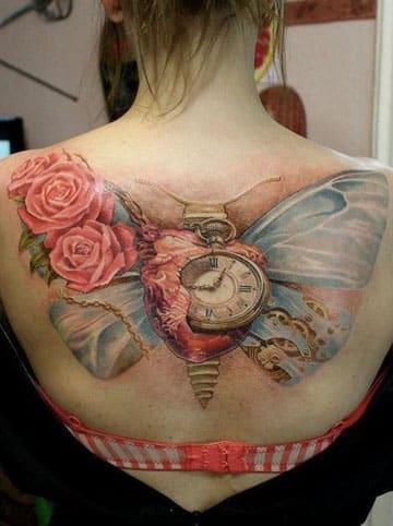 tatuajes de reloj para mujeres antiguo