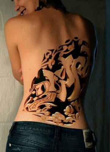 tatuajes en tercera dimensión en la espalda