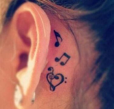 tatuajes atras de la oreja musical