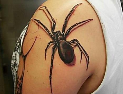 tatuajes de arañas en 3d negro