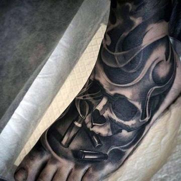 tatuajes en los pies para hombres esqueleto