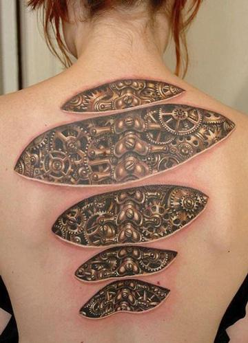tatuajes 3d para mujeres en espalda