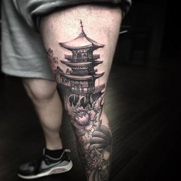 tatuajes de casas chinas para pierna