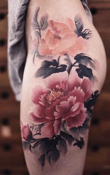 tatuajes de flores chinas grandes