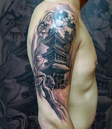 tatuajes orientales para hombres templos