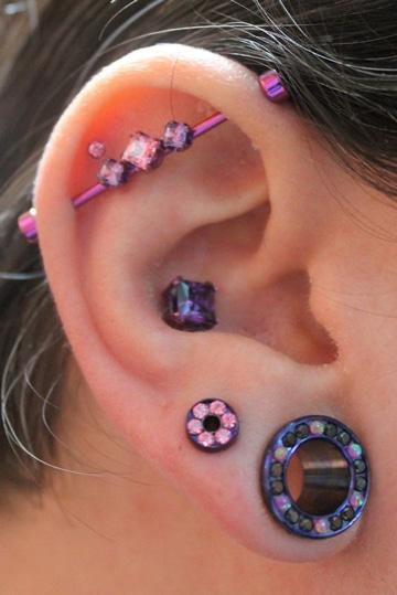 tipos de aretes en la oreja diferentes tamaños