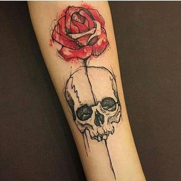 imagenes de rosas para tatuajes con calavera