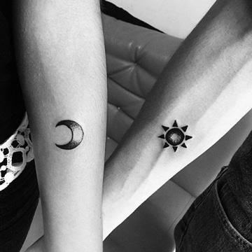 tatuajes de sol y luna para parejas en brazos