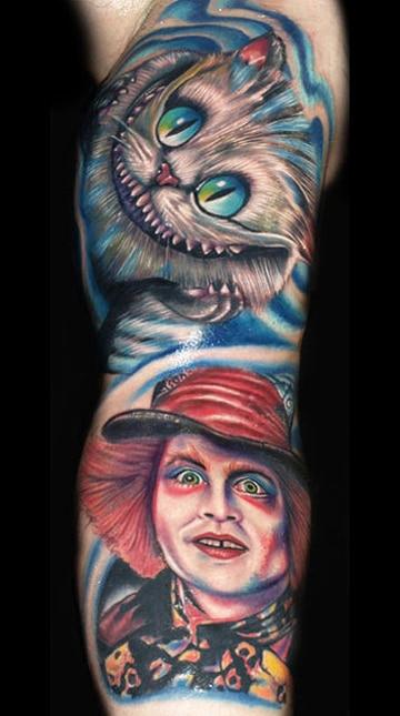 tatuajes del sombrerero loco con personajes