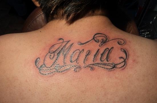 tatuajes con el nombre maria en espalda