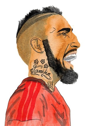 tatuajes de arturo vidal en caricatura