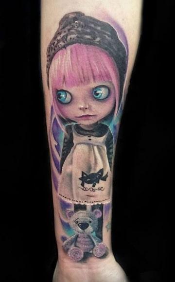tatuajes de muñecas de trapo a color
