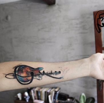 tatuajes de musica para hombres a color
