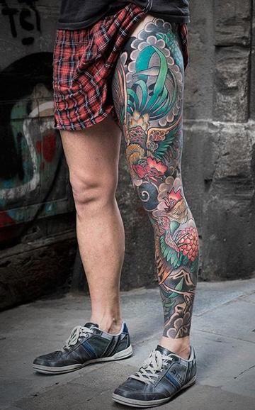 tatuajes de piernas para hombres full color