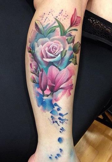 tatuajes para mujer en la pantorrilla florales