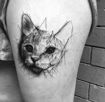 tatuajes de gatos para hombres sketch