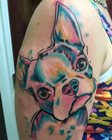 tatuajes para amantes de los perros a color