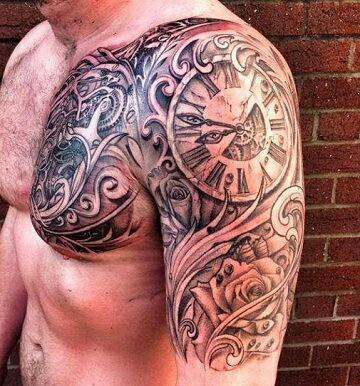 tatuajes de relojes en el hombro para hombre