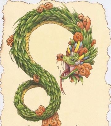 dibujos de quetzalcoatl para tatuar a colores