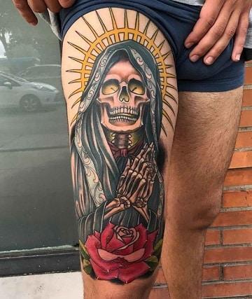 tatuajes de calaveras en la pierna para hombre