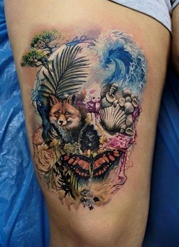 tatuajes de calaveras en la pierna para mujer