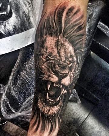 tatuajes de leones rugiendo ideas