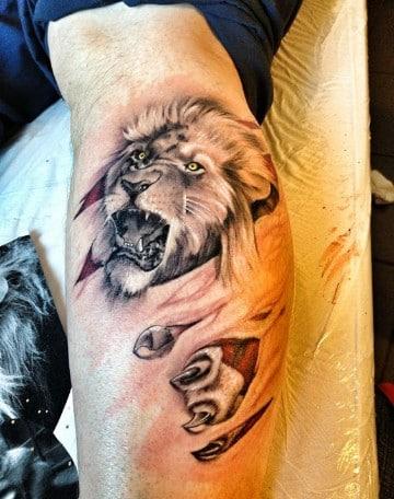 tatuajes de leones rugiendo originales