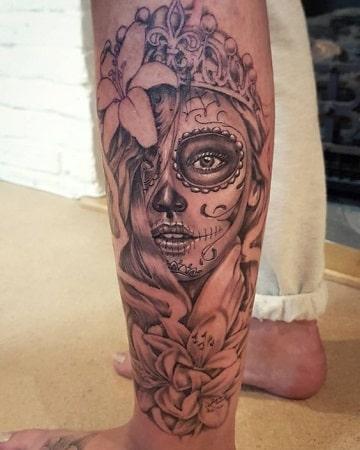 tatuajes de catrinas con rosas para hombres