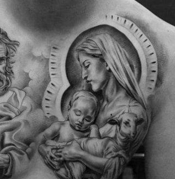 tatuajes de la virgen del carmen en el pecho