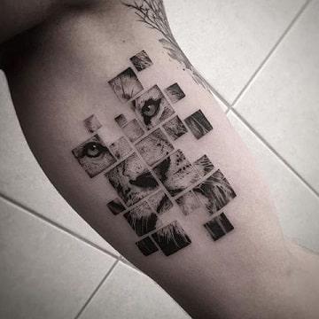 tatuajes de rostros en el brazo animales