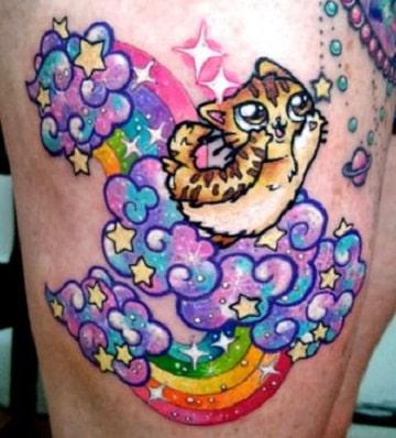 tatuajes coloridos para mujer lindos