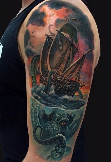 tatuajes de barcos piratas colorido