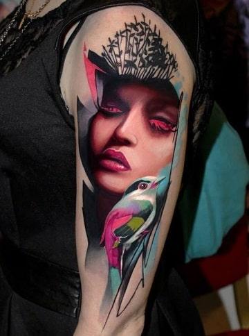 tatuajes de caras de mujeres a colores