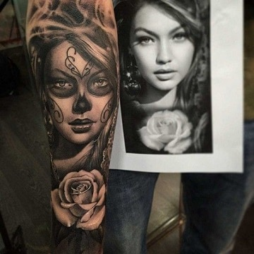 tatuajes de caras de mujeres para dia de muertos