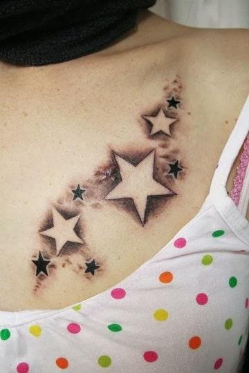 tatuajes de estrellas en el pecho grandes