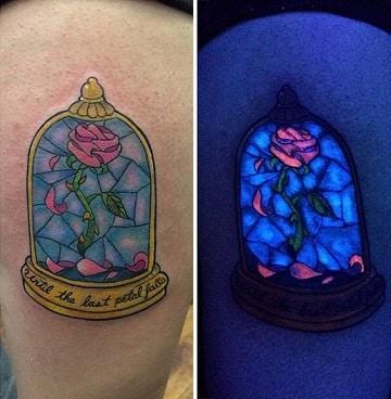 tatuajes de la bella y la bestia brillante