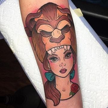 tatuajes de la bella y la bestia creativo