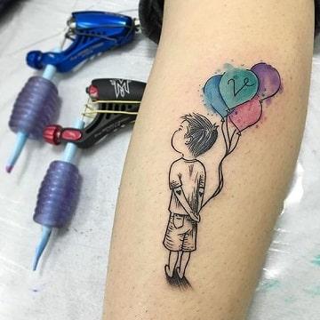Simbolica Terneza En Tatuajes De Niños Con Globos