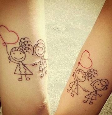 tatuajes de niños con globos para parejas
